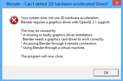 Blender 3D fix error